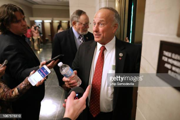 Rep Steve King talks to reporters following leadership elections in the Longworth House Office Building on Capitol Hill November 14 2018 in...