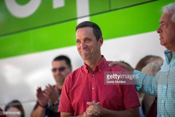 Rep. Steve Knight takes part in a get-out-the-vote rally with Republican gubernatorial candidate John Cox on November 3, 2018 in Santa Clarita,...