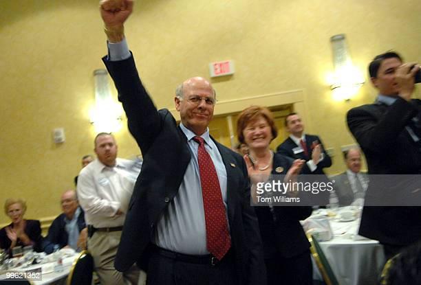 Rep Steve Pearce RNM celebrates winning the delegates' vote for republican Senate nomination at the state republican convention at the Marriott hotel...