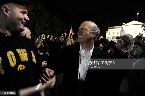 May 1: Rep. Steve Pearce, R-N.M., greets Grady Weekly, of the Army's 101st Airborne Division, during a celebration outside of the White House after...