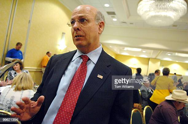 Rep Steve Pearce RNM speaks to the media after winning the delegates' vote for republican Senate nomination at the state republican convention at the...