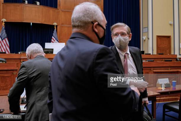 Rep. Steve Scalise elbow bumps Dr. David Kessler, Chief Science Officer of the White House COVID Response Team, after a House Select Subcommittee on...