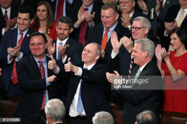 S Rep Steve Scalise gives the thumbs up during the State of the Union address in the chamber of the US House of Representatives January 30 2018 in...