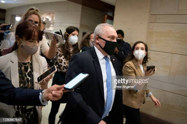 Rep. Steve Scalise arrives to a House GOP caucus meeting at the U.S. Capitol on February 3, 2021 in Washington, DC. Democrats announced plans to hold...
