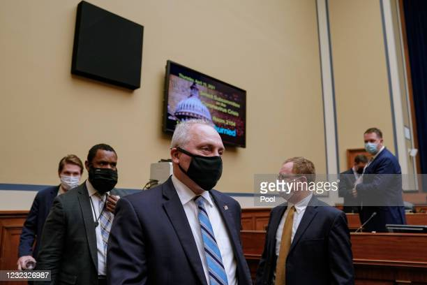 Rep. Steve Scalise departs after a House Select Subcommittee on the Coronavirus Crisis hearing on April 15, 2021 on Capitol Hill in Washington, DC....