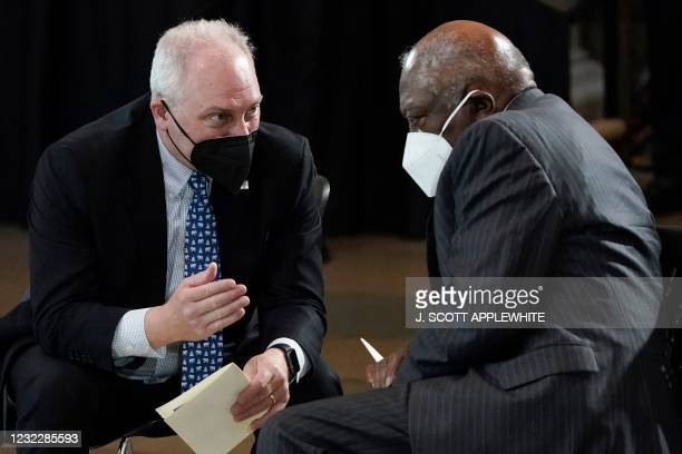 Rep. Steve Scalise, R-La., left, talks with Rep. James Clyburn, D-S.C., as they wait for slain US Capitol Police officer William Billy Evans to lie...