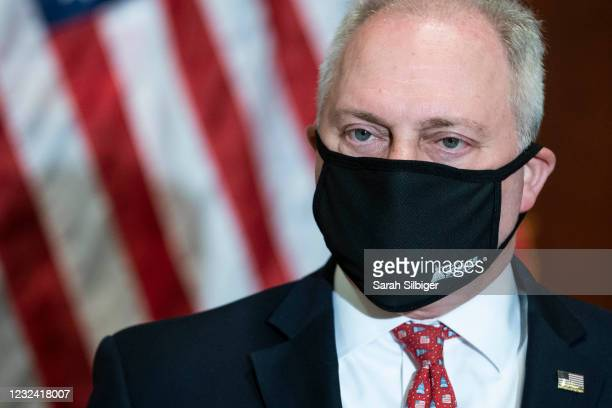 Rep. Steve Scalise listens during a press conference following a House Republican caucus meeting on Capitol Hill on April 20, 2021 in Washington, DC....