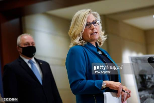 Rep. Steve Scalise looks on as Rep. Liz Cheney speaks during a press conference following a House Republican caucus meeting on Capitol Hill on April...