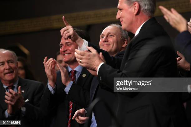 S Rep Steve Scalise points during the State of the Union address in the chamber of the US House of Representatives January 30 2018 in Washington DC...