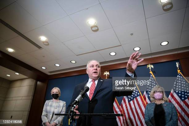 Rep. Steve Scalise speaks during a press conference following a House Republican caucus meeting on Capitol Hill on April 20, 2021 in Washington, DC....