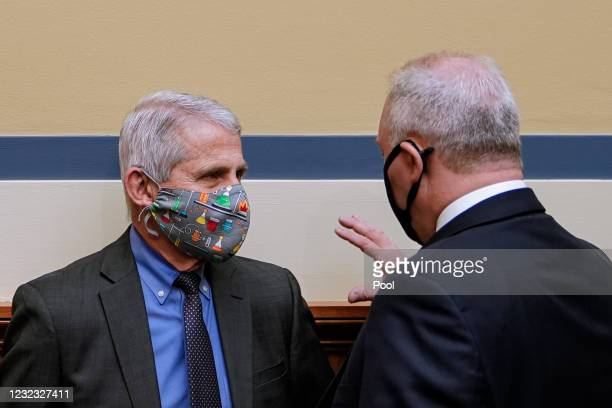 Rep. Steve Scalise talks with Dr. Anthony Fauci, Director of NIAID and Chief Medical Advisor to the President, after a House Select Subcommittee on...
