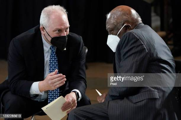 Rep. Steve Scalise talks with Rep. James Clyburn before the late Capitol Police officer William Evans lies in honor in the U.S. Capitol rotunda on...