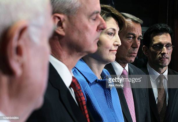 US Rep Steve Womack Rep Cathy McMorris Rodgers Speaker of the House Rep John Boehner and House Majority Leader Rep Eric Cantor attend a media...