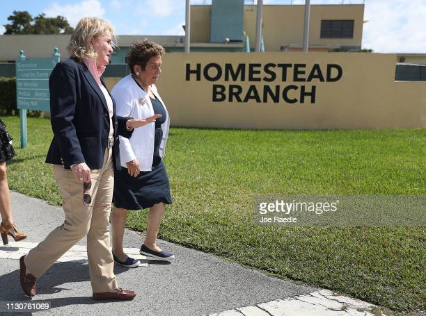Rep Sylvia García and Rep Donna Shalala walk together after touring the Homestead Temporary Shelter for Unaccompanied Migrant Children facility on...