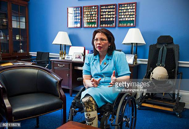 Rep Tammy Duckworth DIl talks about the problems plaguing the Veterans Administration in her office in the Cannon Building May 19 2014 in Washington...