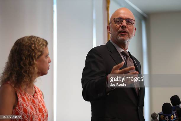 Rep Ted Deutch and Rep Debbie Wasserman Schultz attend a press conference held at the Sunrise Police Department asking the federal government to ban...