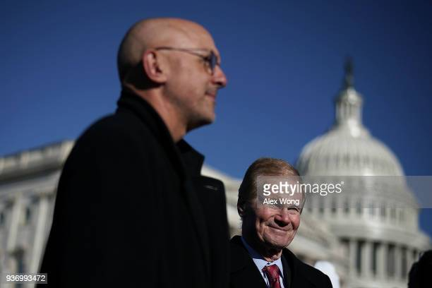 S Rep Ted Deutch and Sen Bill Nelson participate in a news conference on gun control March 23 2018 on Capitol Hill in Washington DC The lawmakers...