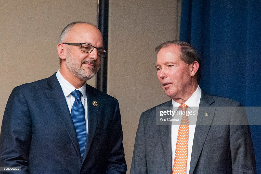 Rep. Ted Deutch (D-Fla.) and Sen. Tom Udall (D-NM) speak during the 'Working To Get Big Money Out Of Politics Forum' press conference at The National Press Club on February 2, 2016 in Washington, DC.