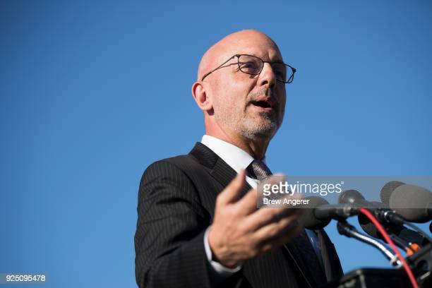 Rep Ted Deutch speaks during a press conference to discuss the 'Student Teachers and Officers Preventing School Violence Act of 2018' on Capitol Hill...