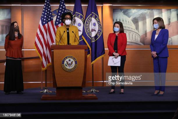 Rep. Teresa Leger-Fernandez , Rep. Lauren Underwood , Rep. Angie Craig and Speaker of the House Nancy Pelosi hold a news conference in the U.S....