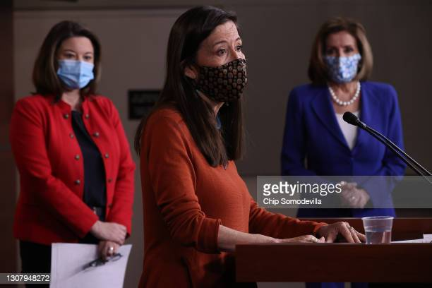 Rep. Teresa Leger-Fernandez talks to reporters during a news conference with Rep. Angie Craig and Speaker of the House Nancy Pelosi in the U.S....