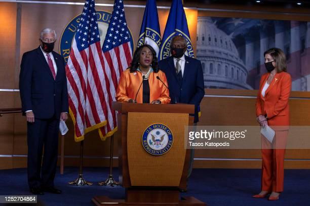 Rep. Terri Sewell speaks as U.S. House Majority Leader Rep. Steny Hoyer , House Majority Whip James Clyburn and Speaker of the House Nancy Pelosi...