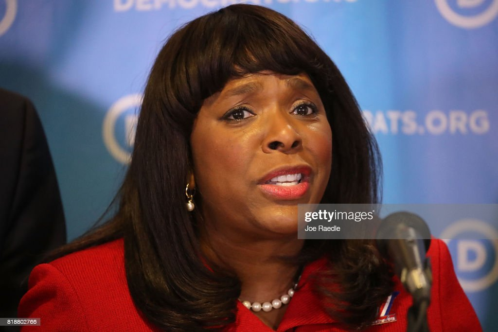 Rep. Terri Sewell (D-AL) speaks during a press conference held at the Democratic National Headquarters on July 19, 2017 in Washington, DC. The news conference was held 'to explain why the Trump administration's voter fraud commission was set up from the start to mislead the public and the steps that Democrats will take to fight back.