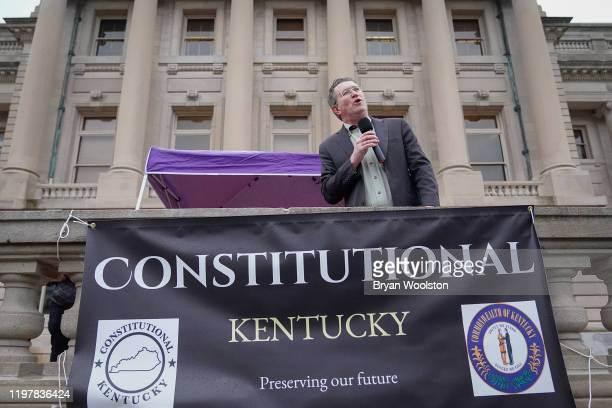Rep Thomas Massie speaks to the crowd gathered at a rally in support of the Second Amendment on January 31 2020 in Frankfort Kentucky Advocates from...