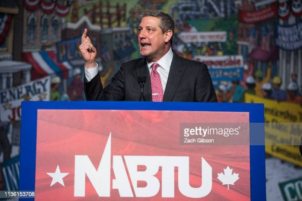 Rep Tim Ryan speaks during the North American Building Trades Unions Conference at the Washington Hilton April 10 2019 in Washington DC Many Democrat...