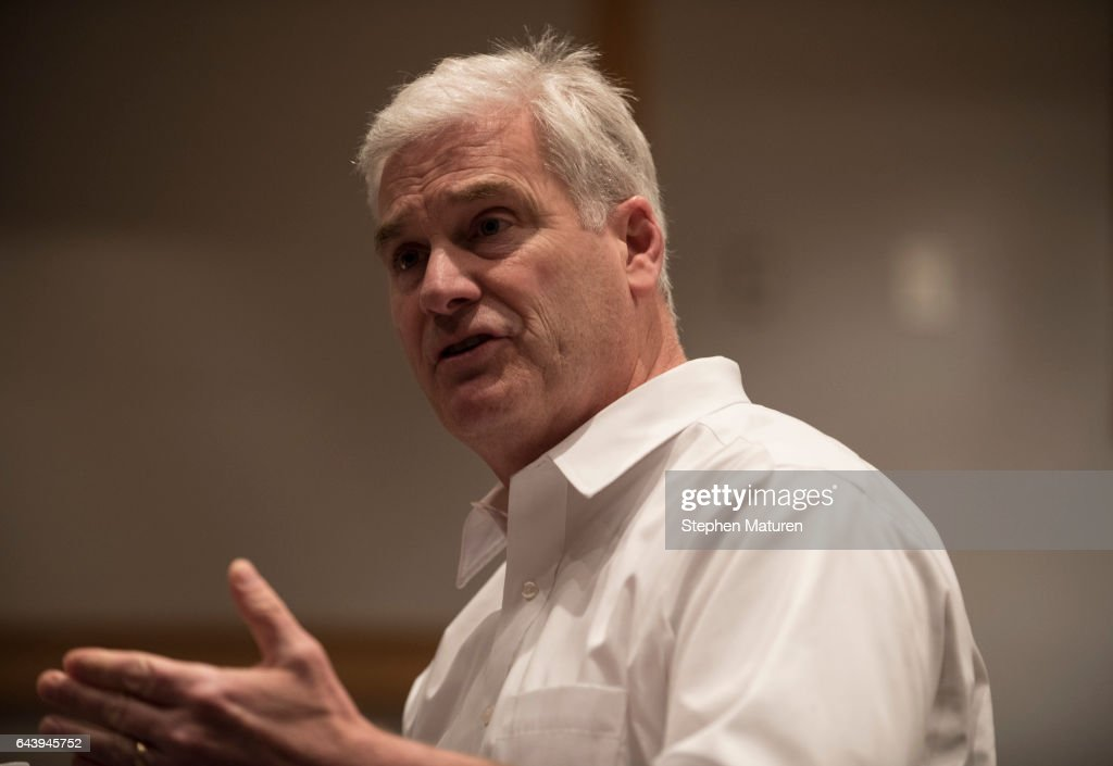Rep. Tom Emmer (R-MN) Holds Town Hall Meeting In His Home District Outside Of St. Paul, Minnesota : News Photo
