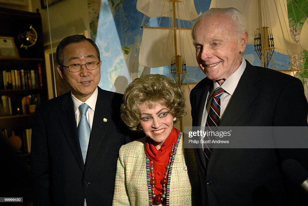 Rep. Tom Lantos, D- Ca, and his wife Annette pose for pictures with United Nations Secretary General Ban Ki-moon during a luncheon in Lantos' office on Wednesday, June 20, 2007. The topic of the meeting was UN reform and UN peacekeeping efforts.