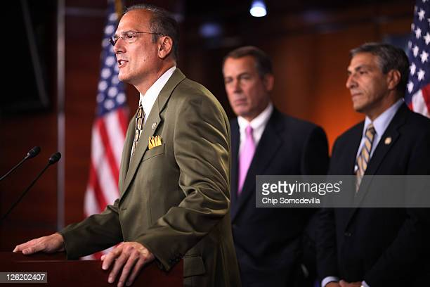 Rep Tom Marino speaks during a news conference about the budget continuing resolution passed by the House near midnight with Speaker of the House Rep...
