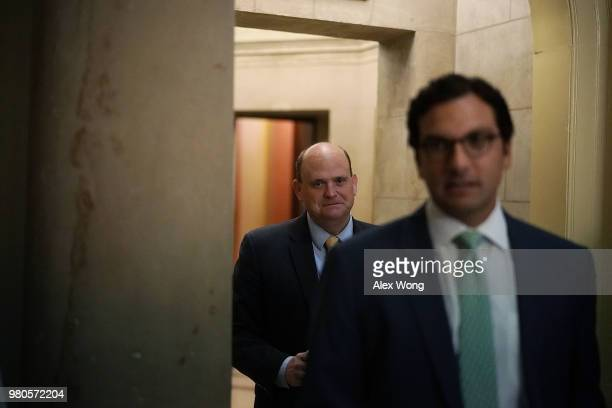 S Rep Tom Reed comes out from the office of Speaker of the House Rep Paul Ryan at the US Capitol prior to a vote June 21 2018 in Washington DC Due to...