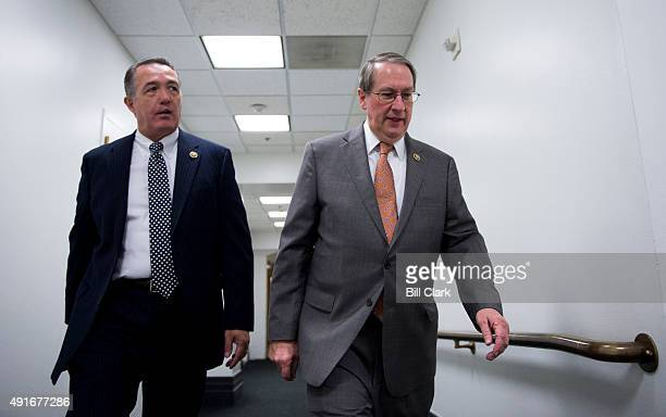 Rep Trent Franks RAriz left and House Judiciary chairman Bob Goodlatte RVa talk as they arrive for the House Republican Conference meeting in the...