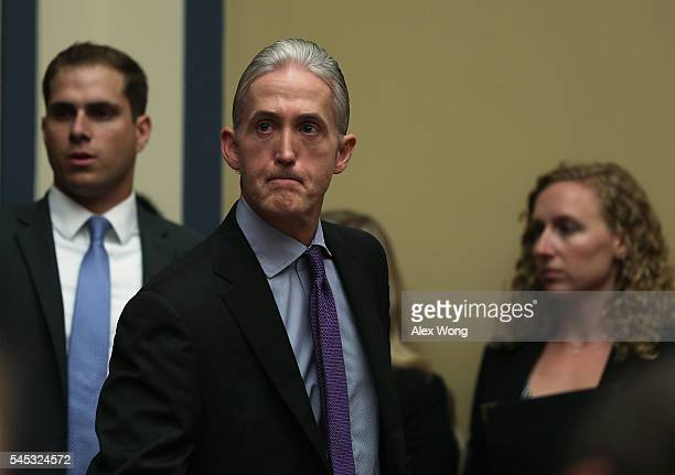 Rep. Trey Gowdy arrives at a hearing before House Oversight and Government Reform Committee July 7, 2016 on Capitol Hill in Washington, DC. The...