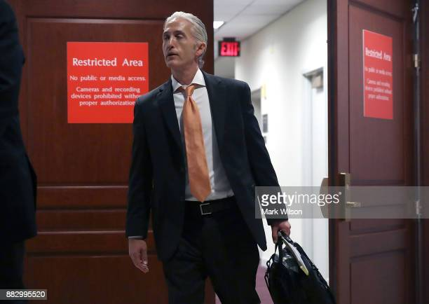 Rep Trey Gowdy leaves a closed door session of the House Intelligence Committee on Capitol Hill November 30 2017 in Washington DC The committee is...