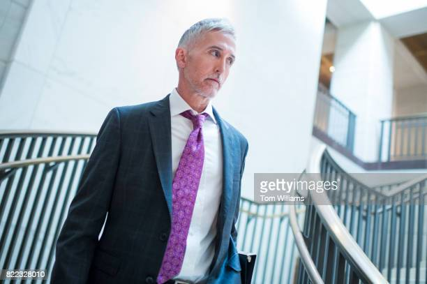 Rep. Trey Gowdy, R-S.C. Arrives for a House Intelligence Committee meeting in the Capitol Visitor Center with Jared Kushner, White House adviser and...