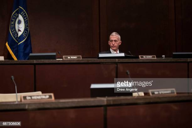 Rep Trey Gowdy sits alone in the hearing room before the arrival of former Director of the US Central Intelligence Agency John Brennan to testify...