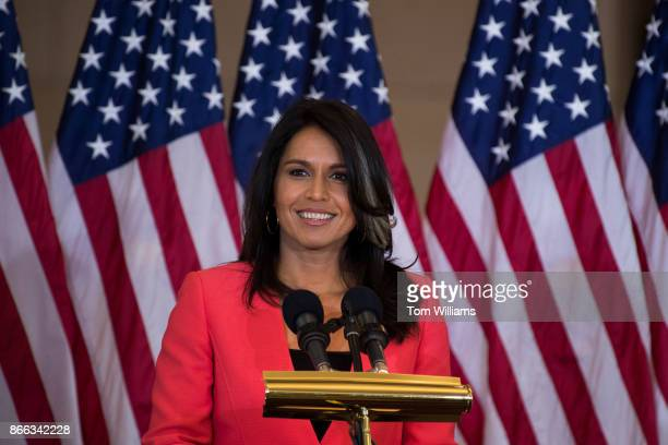 Rep Tulsi Gabbard DHawaii attends a Congressional Gold Medal ceremony in Emancipation Hall to honor Filipino veterans of World War II on October 25...
