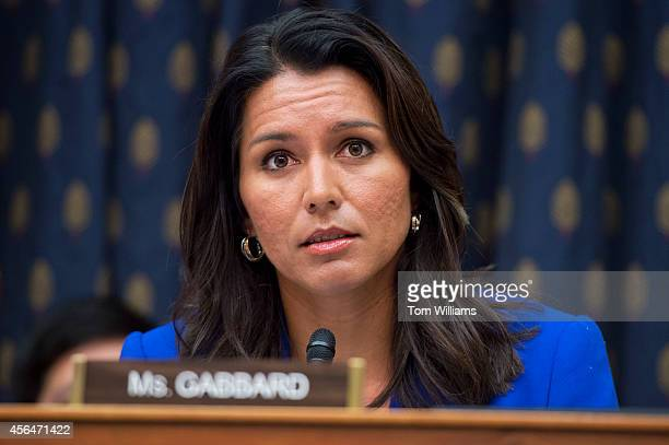 Rep Tulsi Gabbard DHawaii attends a House Foreign Affairs Subcommittee on the Western Hemisphere hearing in Rayburn Building October 1 on Marine Sgt...