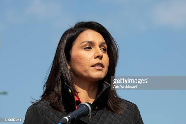 Rep Tulsi Gabbard DHawaii speaks at a news conference alongside on March 7 2019 in Washington DC The news conference was held to discuss the...