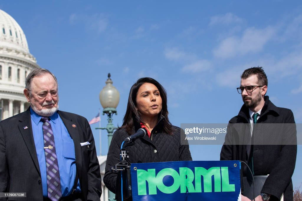 Rep. Tulsi Gabbard And Rep. Don Young Introduce The Bipartisan 'Ending Federal Marijuana Prohibition Act' : News Photo