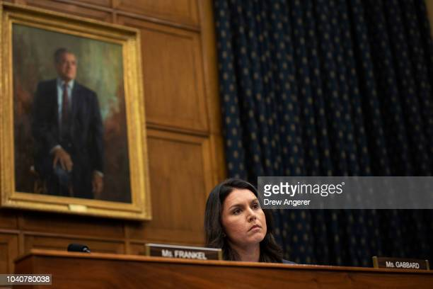 Rep Tulsi Gabbard listens during a House Foreign Affairs Committee hearing concerning the genocide against the Burmese Rohingya on Capitol Hill...