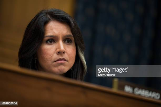 Rep Tulsi Gabbard listens to testimony from Thae Yongho former chief of mission at the North Korean embassy in the United Kingdom during a House...