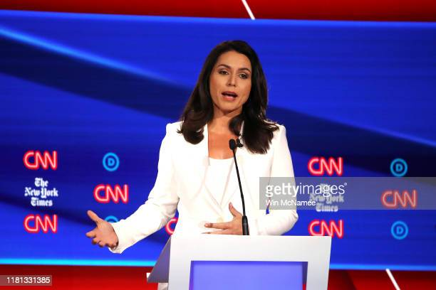 Rep Tulsi Gabbard speaks during the Democratic Presidential Debate at Otterbein University on October 15 2019 in Westerville Ohio A record 12...
