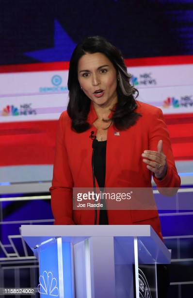 Rep Tulsi Gabbard speaks during the first night of the Democratic presidential debate on June 26 2019 in Miami Florida A field of 20 Democratic...