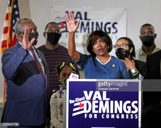 Rep. Val Demings of Florida's 10th congressional district thanks supporters at her election night victory gathering at the Crowne Plaza hotel in...