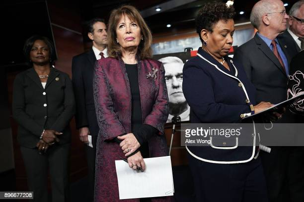 US Rep Val Demings Rep John Sarbanes Rep Jackie Speier Rep Barbara Lee and Rep Peter Welch listen during a news conference to show support of Special...