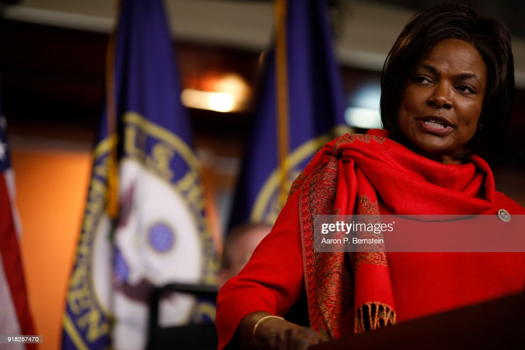 Rep. Val Demings (D-FL) speaks at a press conference on Capitol Hill on February 14, 2018 in Washington, DC. Pelosi and her fellow Democrats addressed the need for heightened security surrounding the nation's voting systems ahead of the 2018 midterms.
