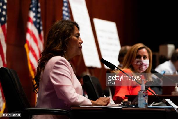 S Rep Veronica Escobar attends a hearing of the House Judiciary Committee at the Capitol Building on June 24 2020 in Washington DC Democrats are...